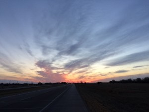 Pre-dawn light from roadside of Interstate 80 heading east out of Gothenburg NE