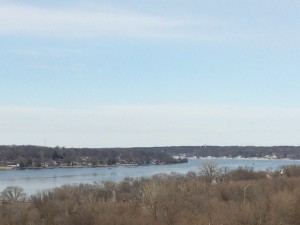 Mississippi river - formerly a rapids area but there are now a number of downstream dams and locks which have smoothed things out on this leg of the river