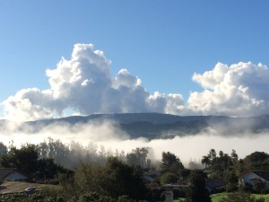 looking south down towards the Santa Ynez River - early morning marine layer fog and quickly building cumulus clouds (possibly building to cumulonimbus latter in the day?)