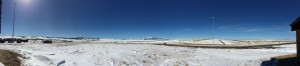 Panoramic shot of the scenery at Wyoming rest stop