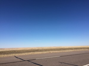 Road side on I-80 in western Nebraska - march 7, 2015 In a word - pretty flat.  The middle of the state actually gets a bit rolling and has a lot of water along the highway but out here it is the flat prairie