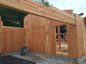 GluLam (Glued Laminate beam) over the carport - a big beam but not the biggest in the house