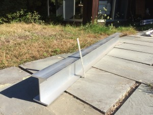 """6"""" Aluminum I-Beam for supporting the island counter top via cantilevering. I think we will weld on a 1/4"""" aluminum plate to the top of the I-Beam for greater coverage"""