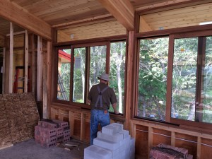 The north side sliding half height windows are in - they are very smooth operating