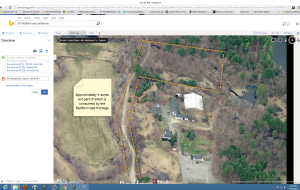 "Bing maps, bird's eye view of my property. Orange dotted lines are an approximation of the lot lines (the lot is a ""pork chop"" with the required footage on Bedford Road. The old Bates dairy setup with the large barns and outbuildings abuts my property and now belongs to the Kimballs, who have a string of ice cream stands that are very successful"