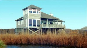 A house on pilings in a difficult location